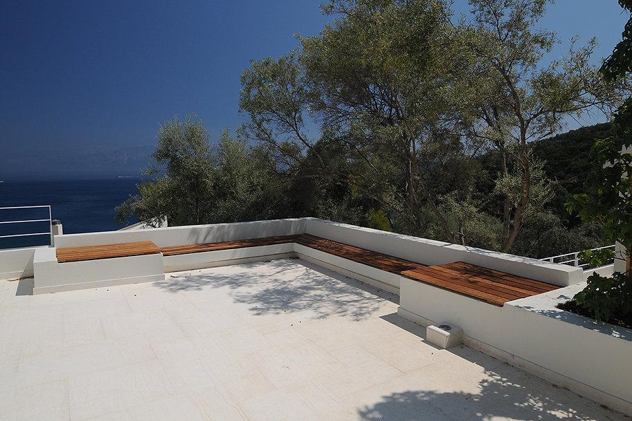 Custon bench design overlooking the Greek sea
