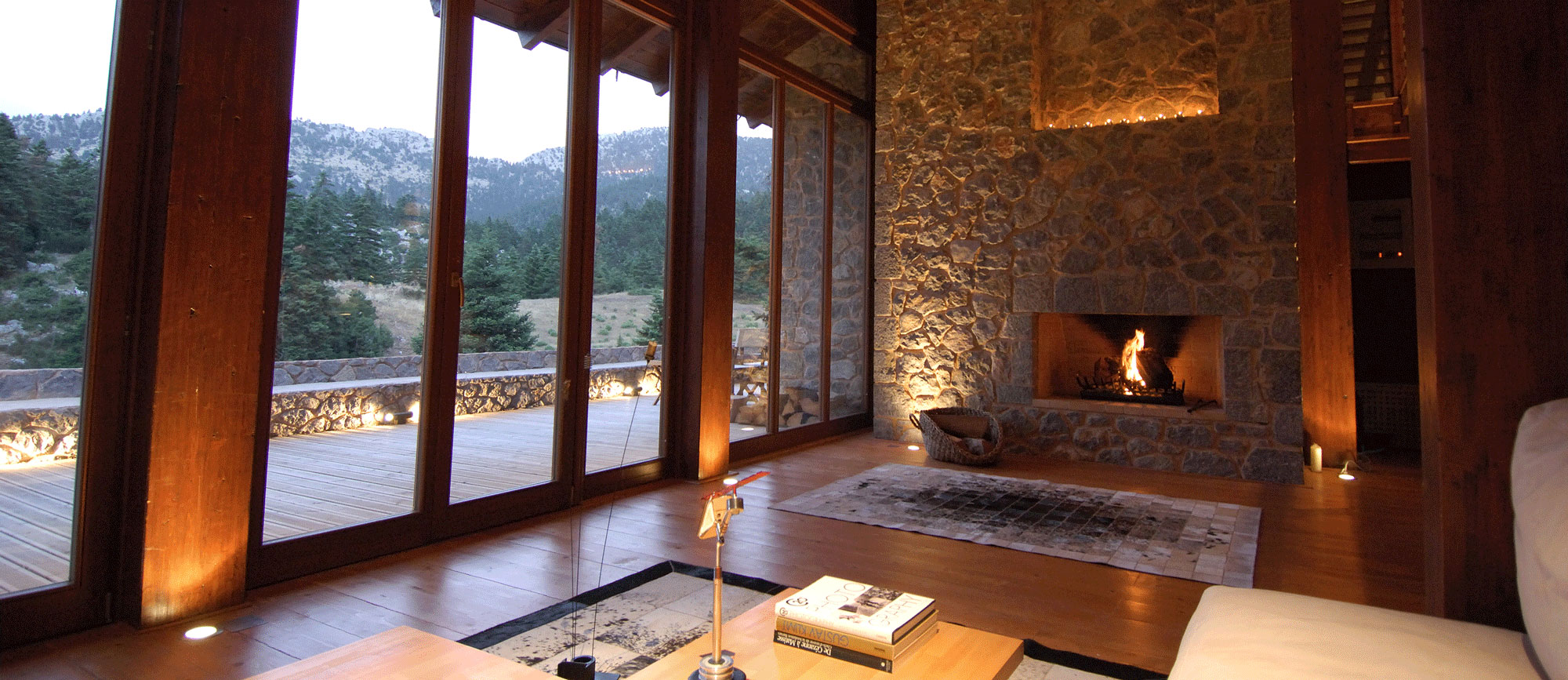 Stone built home with fireplace