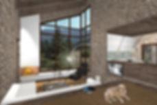 Εσωτερικη αποψη χειμερινης κατοικιας στον Παρνασσο