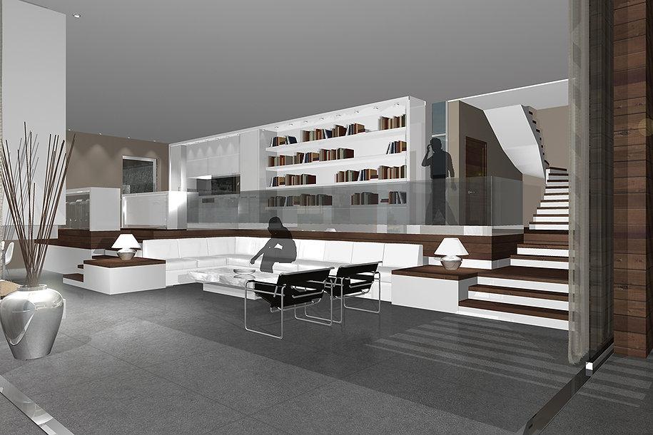 Τρισδιαστατη αποψη εσωτερικης διαρρυθμισης με σκαλα και μεγαλη βιβλιοθηκη