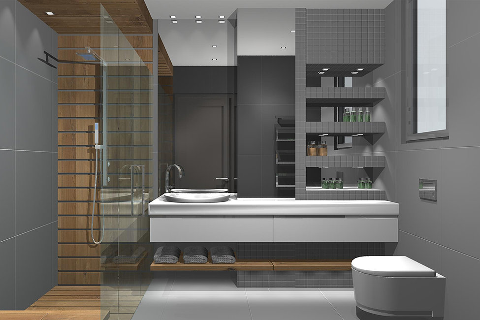 House bathroom redesign with wooden features and grey tiles