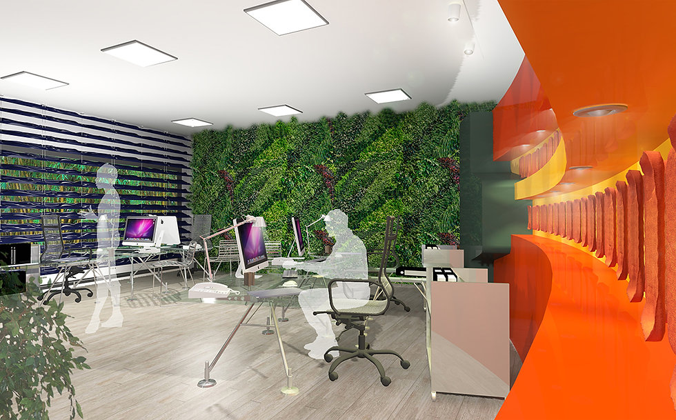 Colourful office space redesign with an internal green living wall