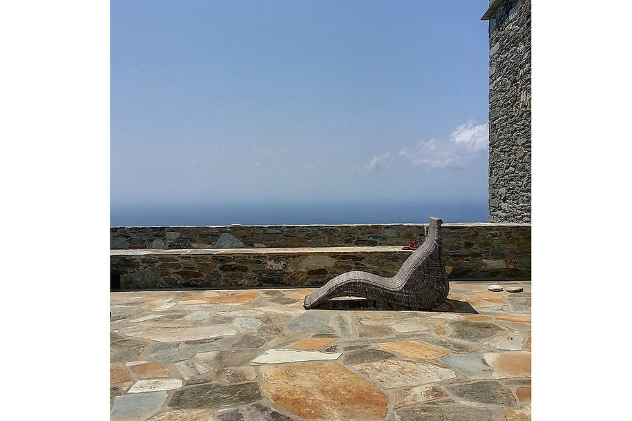 Relaxing view of the Aegean from a stone built home