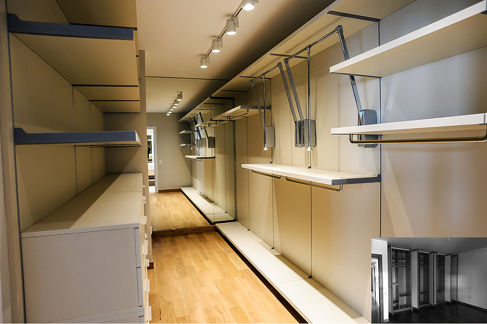 Walk closet with moveable shelves