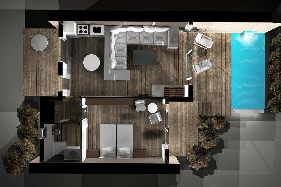 3D rendered cutaway plan
