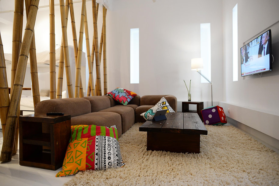 Modern architecture with bamboo as room separators