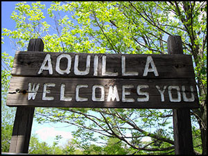 Aquilla Welcome Sign