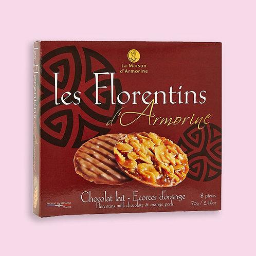 FLORENTINS Chocolat au lait et écorces d'orange   70 g