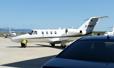 Learjet at EuroAirport with Limousine Service Switzerland.