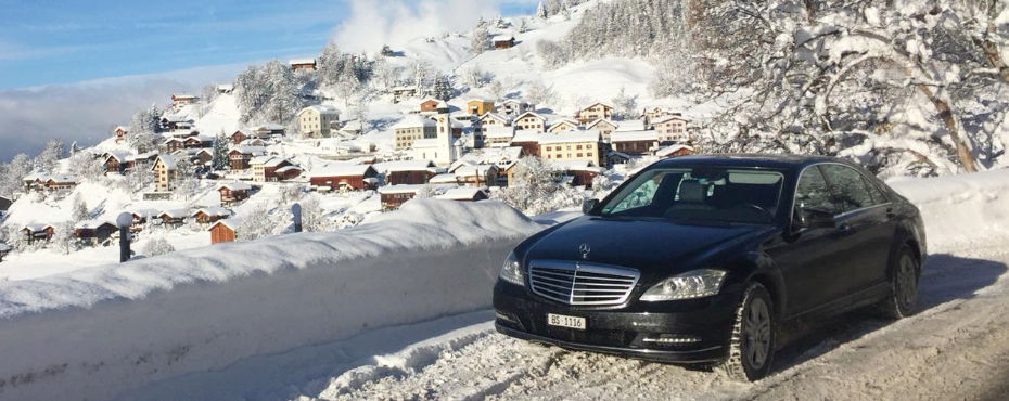 Heading for the WEF in a Mercedes-Benz S-Class.