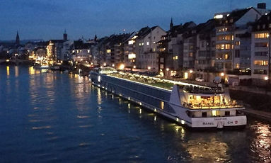 Rhine River Ship at pier in Basel-City.