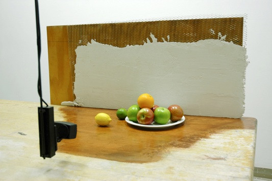 Still Life Video (detail), Surveillance camera, monitor, wood, plaster, steel, fruit and found objects dimensions variable