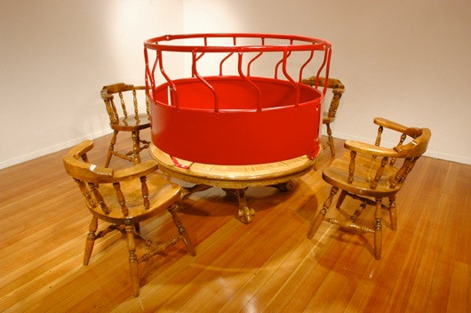 Social Gathering (detail), welded steel and altered dinette set dimensions variable