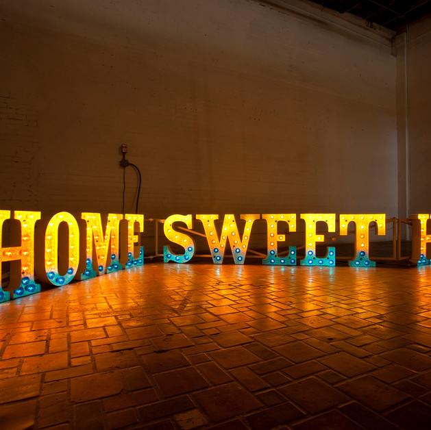 Home Sweet Home (installation view Museum of Contemporary Art Detroit), Hand-formed steel letters, cabochon carnival lights, light chaser circuit H 2' x L 25' x D 1'