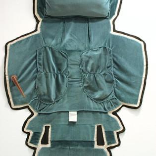 "Chair Skin Rug (Forest Green), altered recliner, felt and gabardine H 8' x L 5' x D 6"""