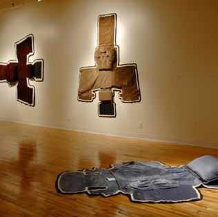 Taxidermy Works (installation view Goodyear Gallery), altered recliner, felt  and gabardine dimensions variable
