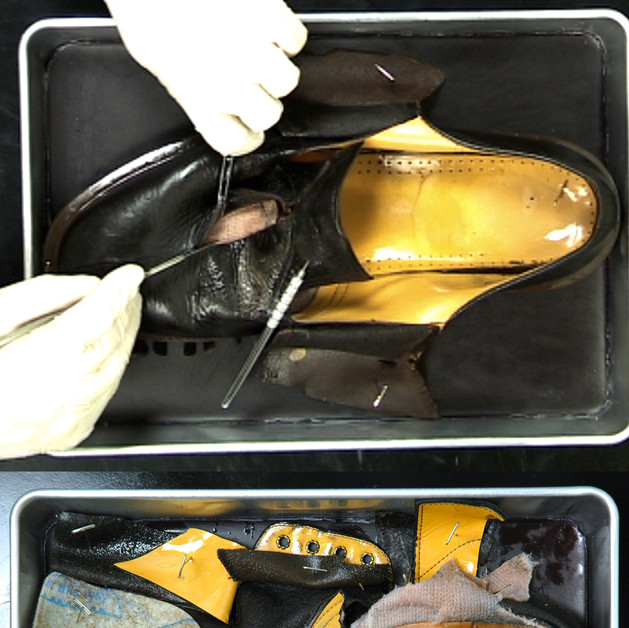 """Inanimate Dissection, altered shoe, wax dissection tray, T-pins, and video projection H 13"""" x L 9"""" x D 3"""""""