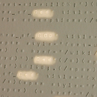Google Searching for God (detail), Typewriter embossed paper (no ink), wood and fluorescent lights H 5' x L 30' x D 1'