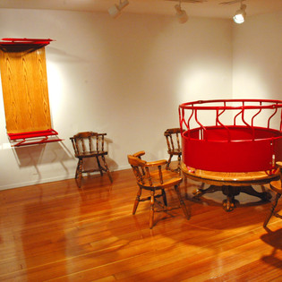 Social Gathering (installation view Prichard Art Gallery), welded steel and altered dinette set dimensions variable
