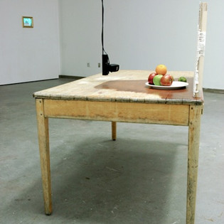 Still Life, Video Surveillance camera, monitor, wood, plaster, steel, fruit and found objects dimensions variable