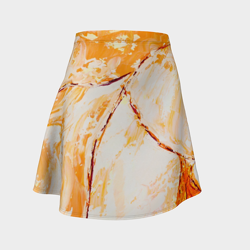 Upside Down Oranges Flared Skirt