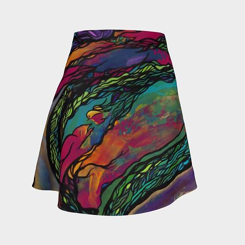 Surprise Birdies Flared Skirt