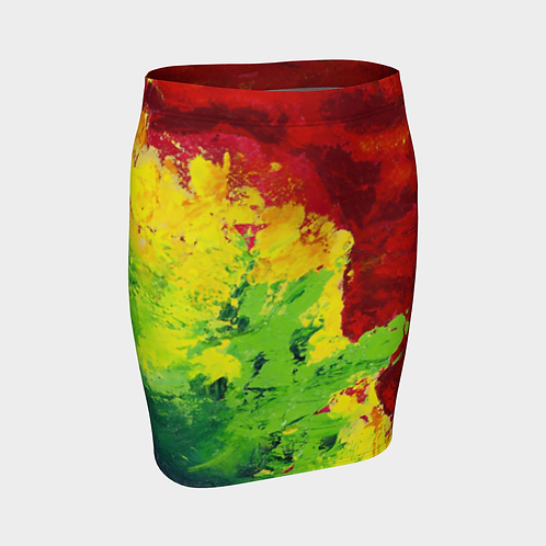 Abstract Infrared Fitted Skirt