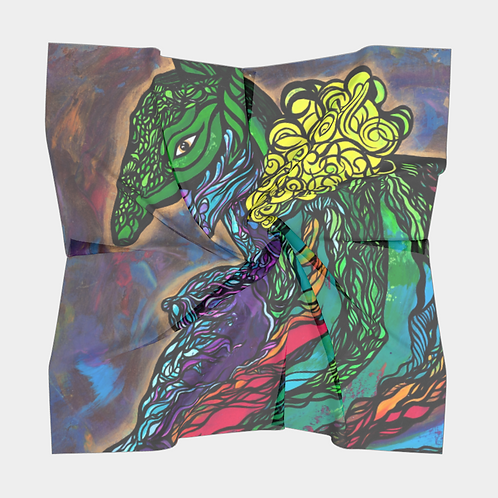 Armadillo Woman Square Silk Scarf