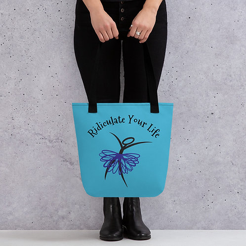 Ridiculate Your Life Tote (Aqua with Purple)