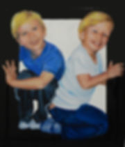 Portrait of two boys in a box