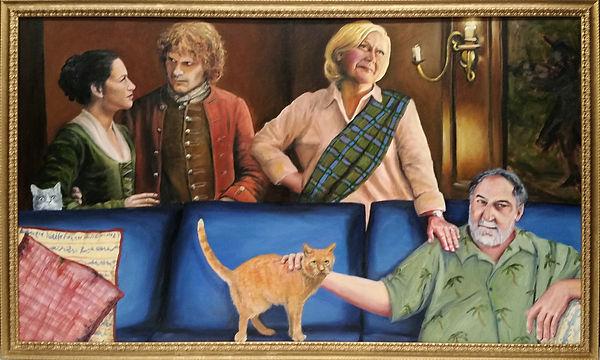 Porrtrait of Liz and Zack Lipner, unusual painting, outlander