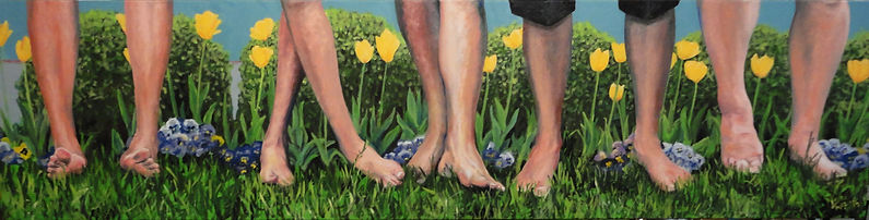Family portrait with feet, painting, art, unusual portrait