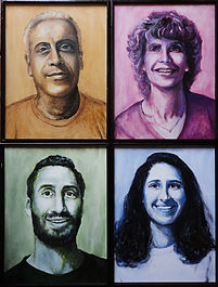 4 portraits, 1 of each person in a family, Alan and Janet Berman