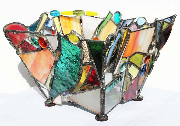 Jeweled Bowl I with glass beads