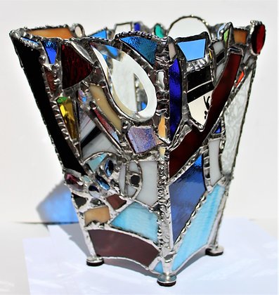 Blue Patchwork Vase