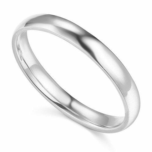 14k White Gold 3-mm Comfort-fit Polished Wedding Band