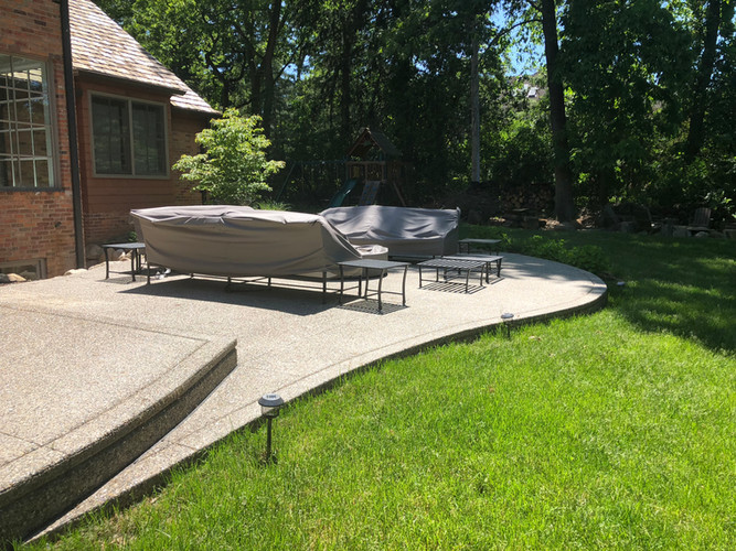 Exposed aggregate concrete patio photo p
