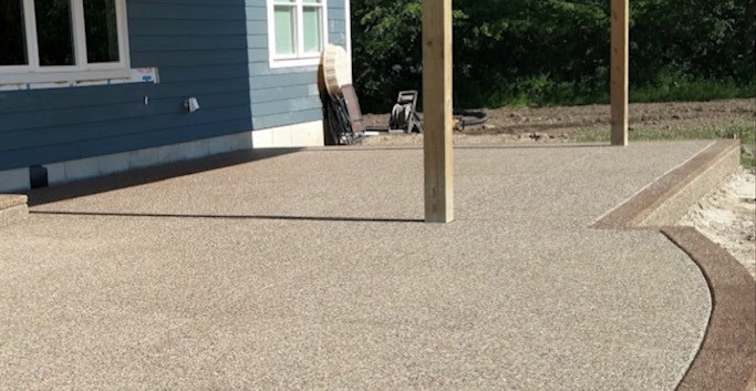 exposed aggregate patio photo new constr