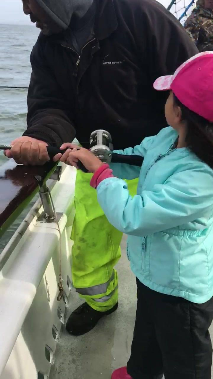 Bay trips are a great way to introduce your kids to Fishing without the worries of getting them sea sick.     She out fished most of the guys on the boat!