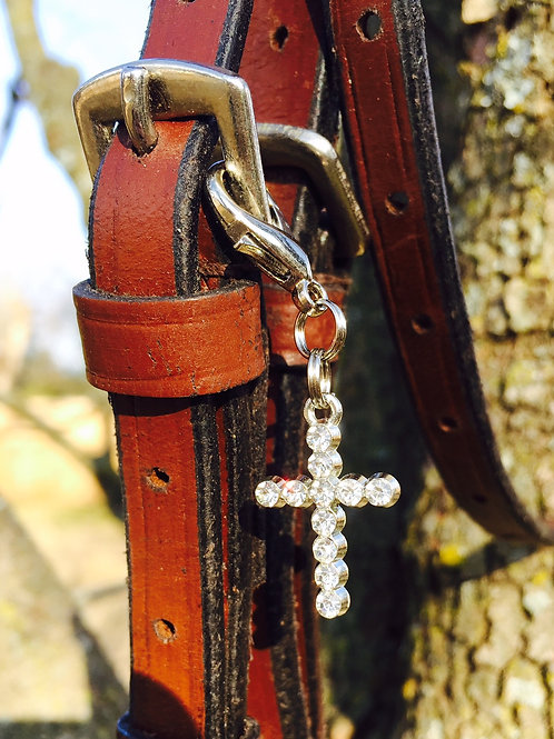 Rhinestone Cross Bridle Charm