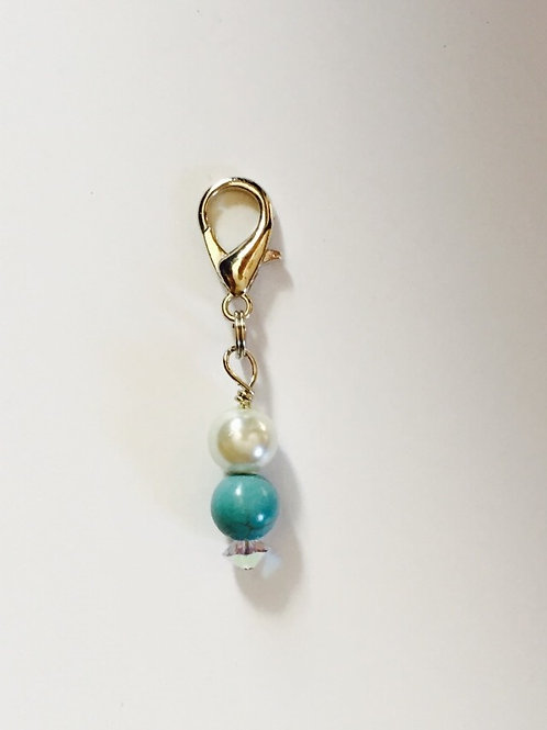 Western Turquoise & Pearl Bridle Charm