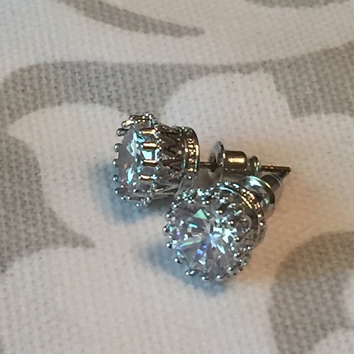 Dressage Queen Crown Silver Plated Rhinestone Solitaire Stud Earrings in Crown S