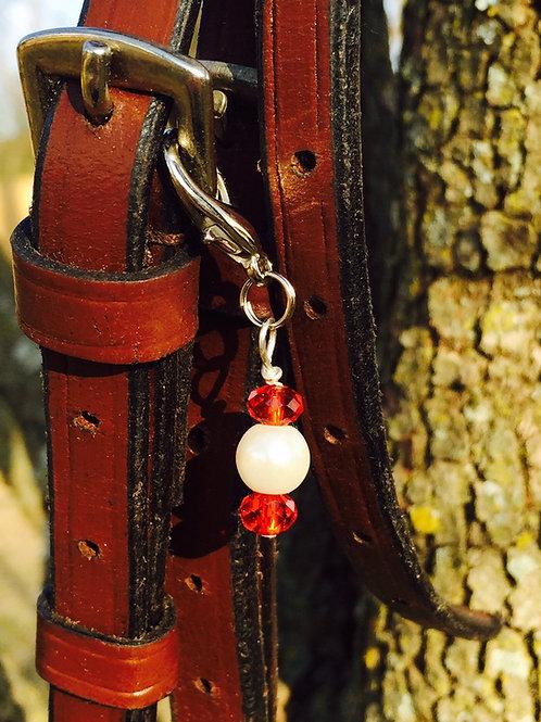 Ruby Crystal & Pearl Bridle Charm