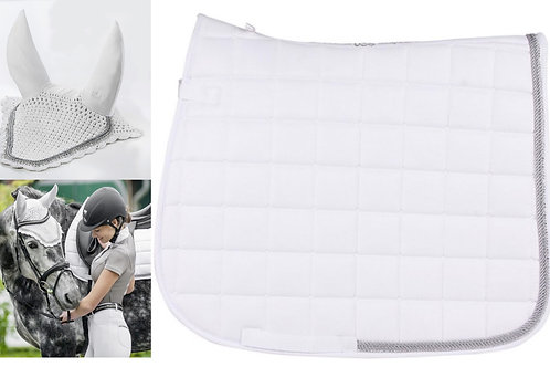 USG Baroness Dressage Saddle Pad and Fly Bonnet Set