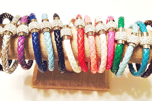 Silva Leather Braided Rhinestone Knot Bracelet