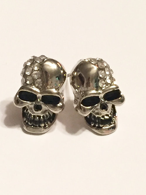 Silver Skull Rhinestone Stud Earrings