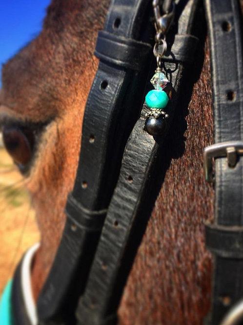 Teal Prism & Black Pearl Bridle Charm