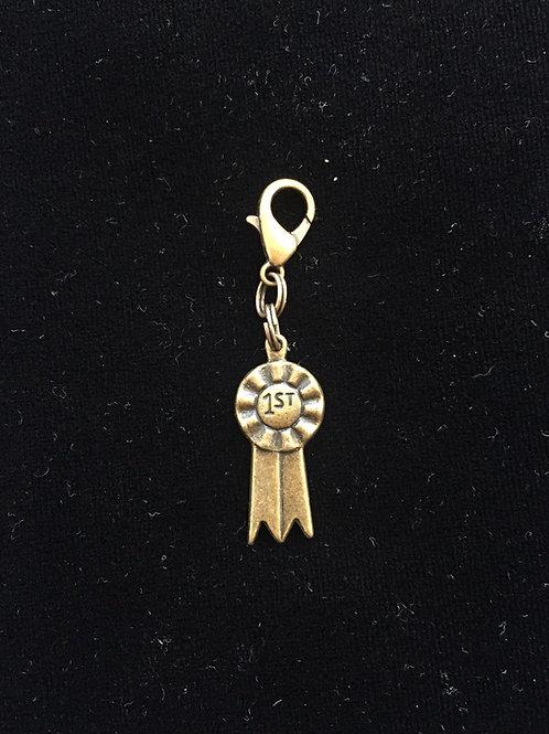 Antique Gold Show Ribbon Bridle Charm