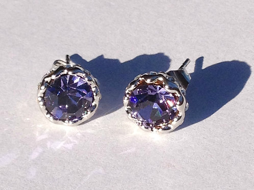 Zara 18K Gold Plated Purple Crystal Earrings