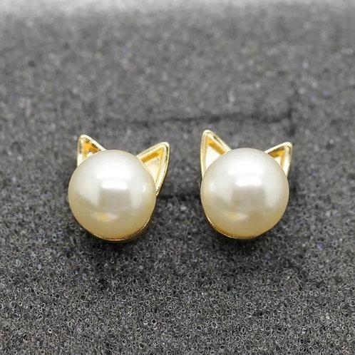 Cat Ears Pearl Gold Stud Earrings